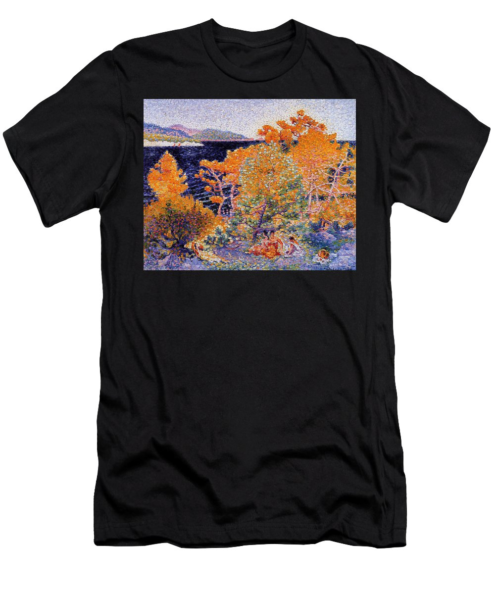 Siesta By The Water - Henri-edmond Cross Men's T-Shirt (Athletic Fit) featuring the painting Siesta By The Water by MotionAge Designs