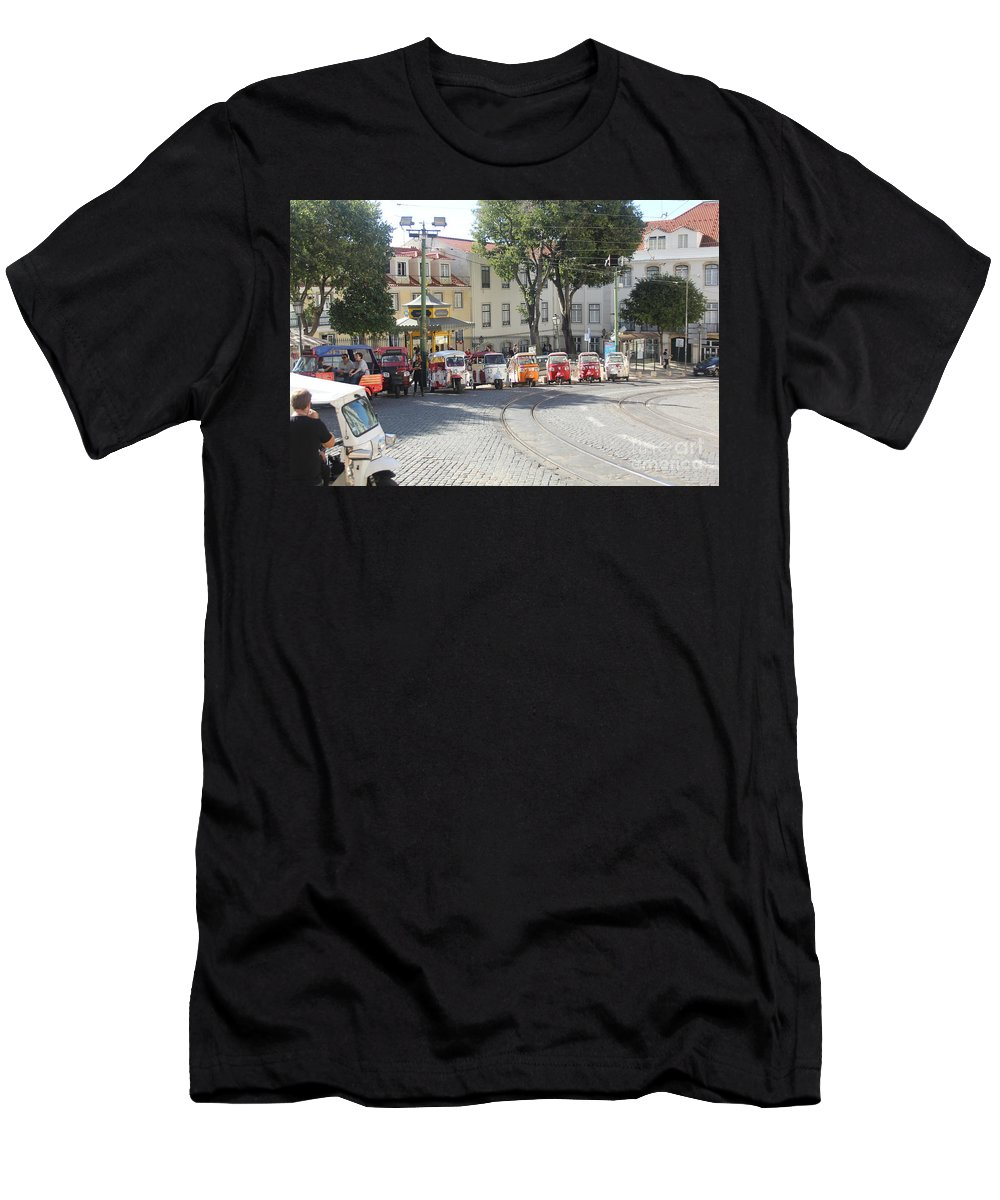 Orange Men's T-Shirt (Athletic Fit) featuring the photograph sighseeing Lisboa by Michel Poulin