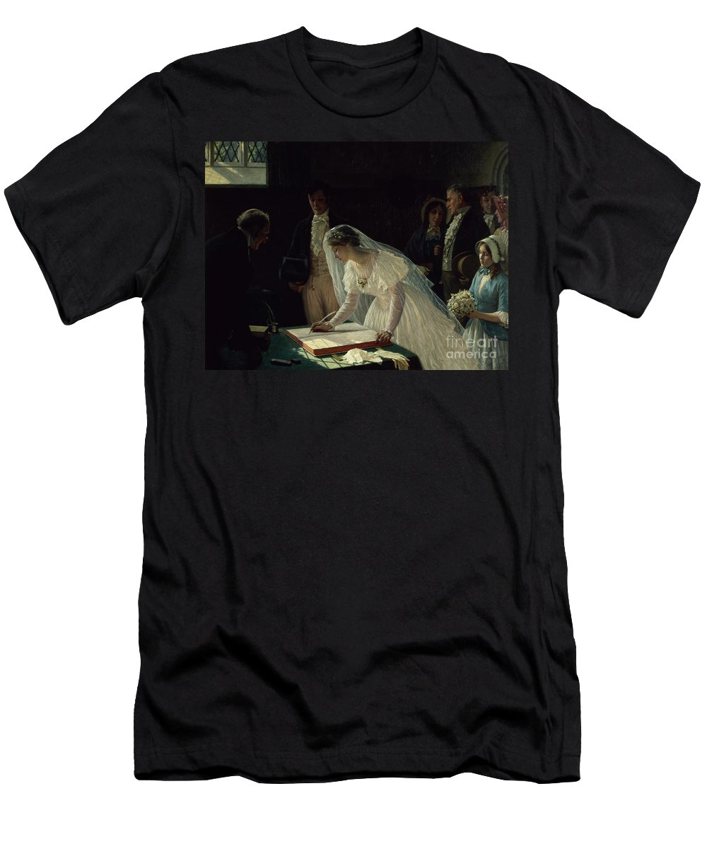 Signing Men's T-Shirt (Athletic Fit) featuring the painting Signing The Register by Edmund Blair Leighton