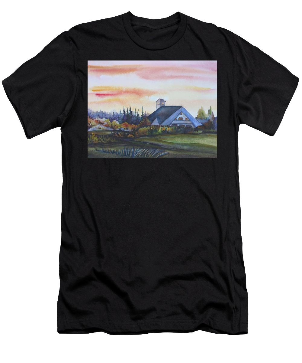 Watercolor Men's T-Shirt (Athletic Fit) featuring the painting Silence Upon Midnapore by Anna Duyunova