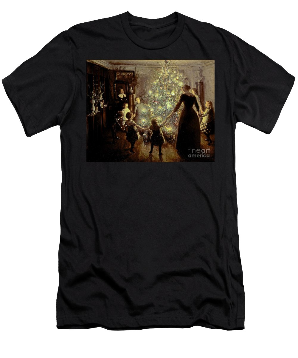 Xmas Men's T-Shirt (Athletic Fit) featuring the painting Silent Night by Viggo Johansen