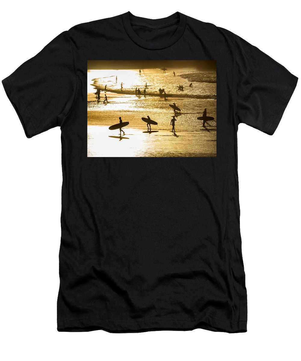 Surfing Men's T-Shirt (Athletic Fit) featuring the photograph Silhouette Of Surfers At Sunset by Curtis Patterson