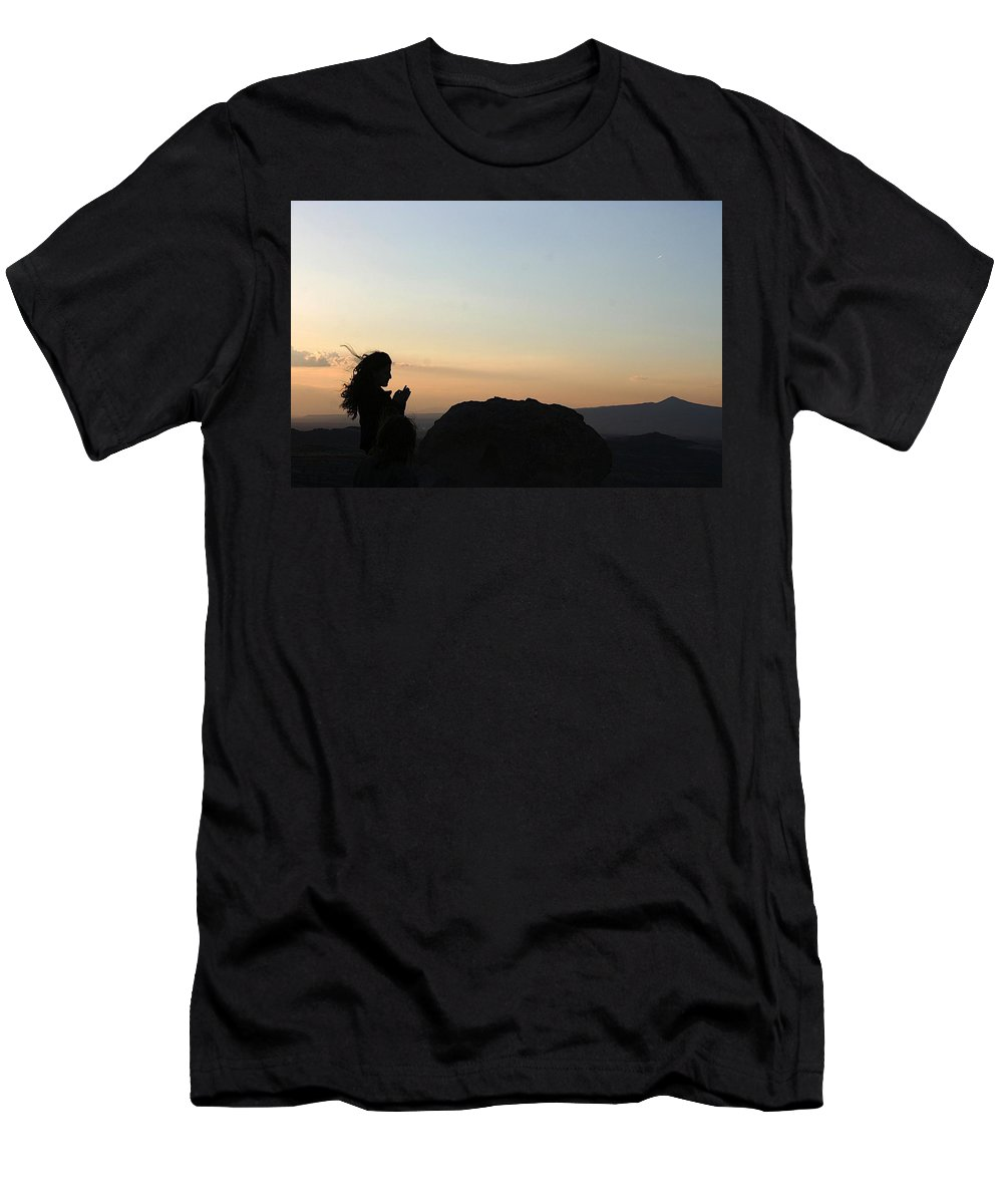 Girl Men's T-Shirt (Athletic Fit) featuring the photograph Silhouette by Yesim Tetik