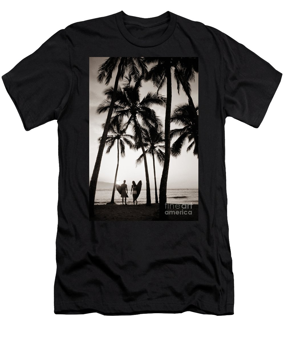 41-pfs0049 Men's T-Shirt (Athletic Fit) featuring the photograph Silhouetted Surfers - Sep by Dana Edmunds - Printscapes