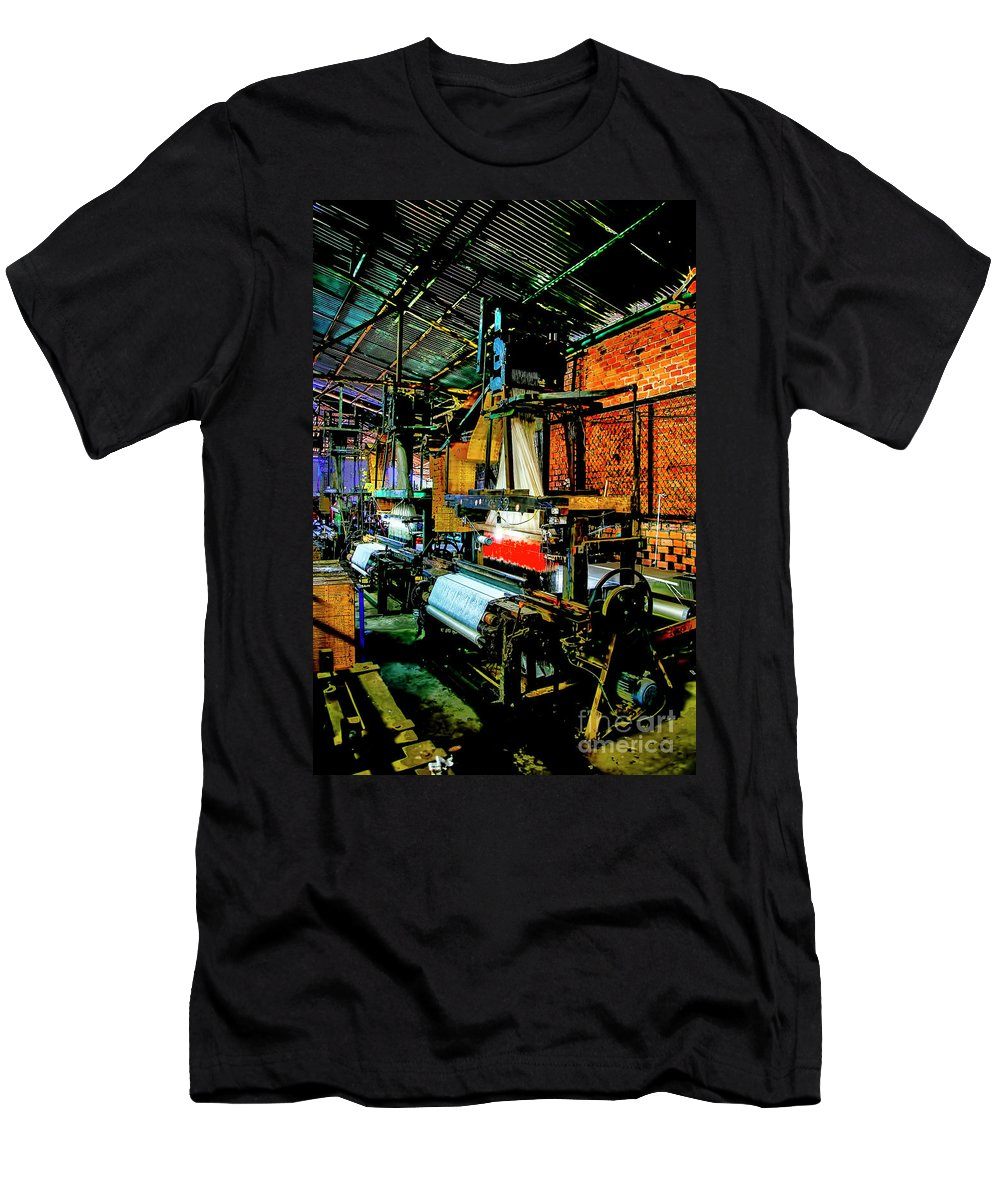 Vietnam Silk Industry Looms Men's T-Shirt (Athletic Fit) featuring the photograph Silk Looms by Rick Bragan