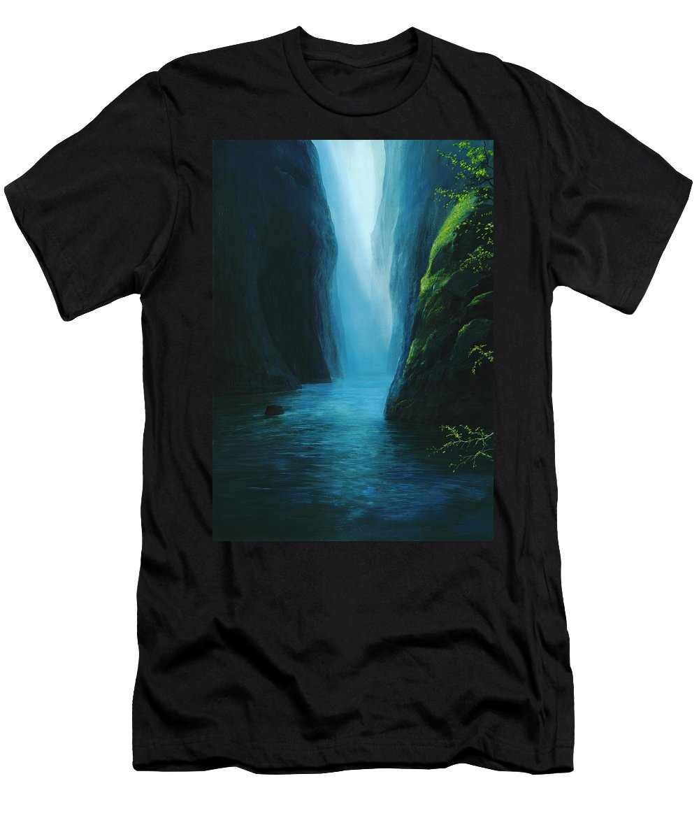 Blue Valley Men's T-Shirt (Athletic Fit) featuring the painting Silver Fallet by Silvian Sternhagel