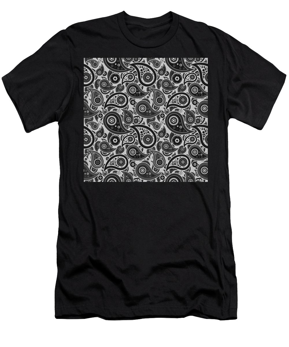 Silver Men's T-Shirt (Athletic Fit) featuring the digital art Silver Gray Paisley Design by Ross
