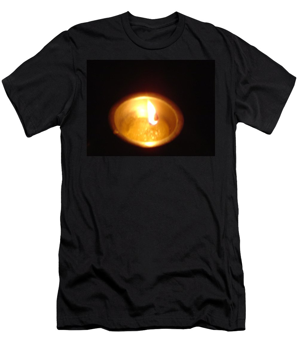 Indian Men's T-Shirt (Athletic Fit) featuring the photograph Silver Lamp by Usha Shantharam