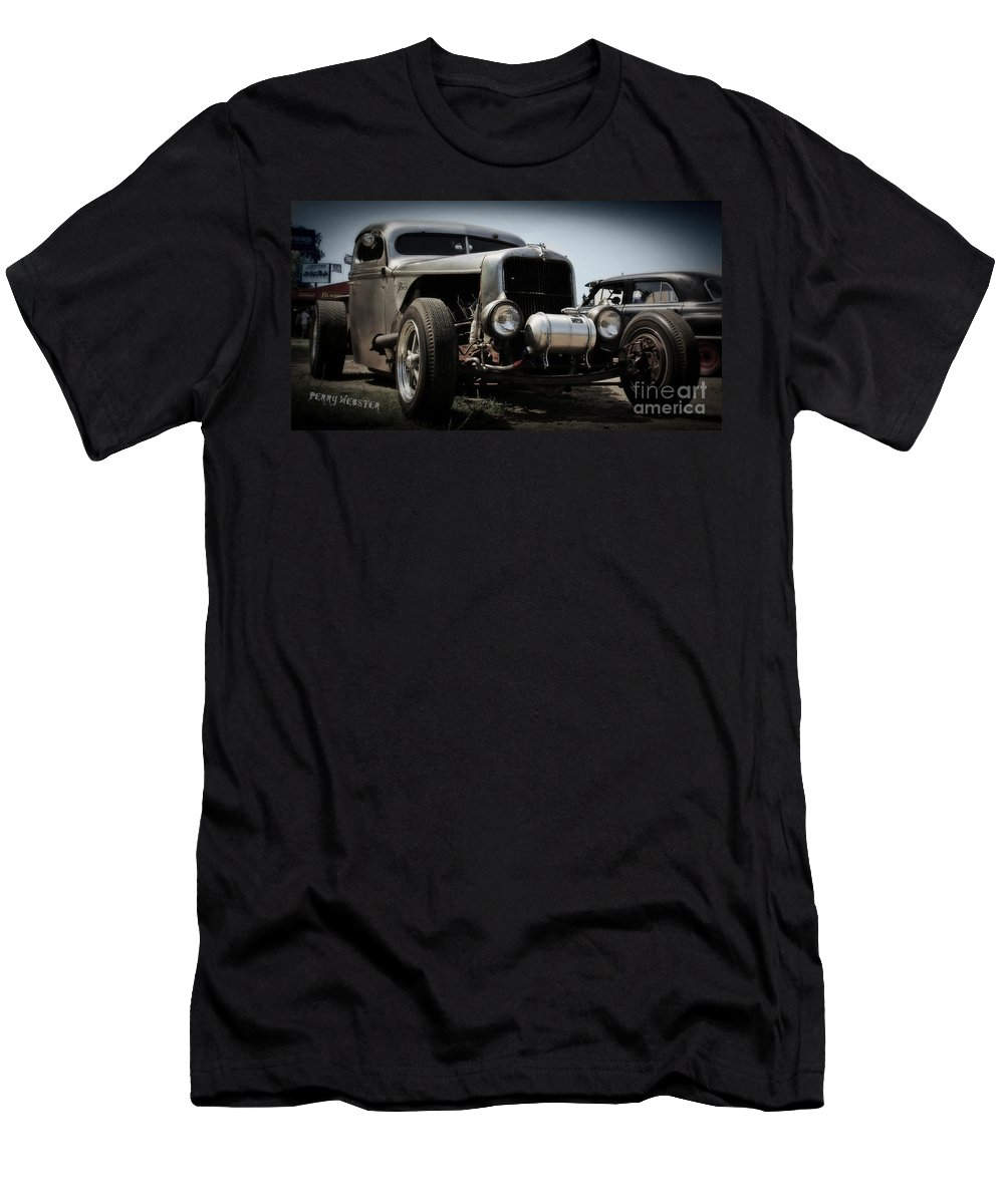 Rat Rod Men's T-Shirt (Athletic Fit) featuring the photograph Silver Rat Rod by Perry Webster