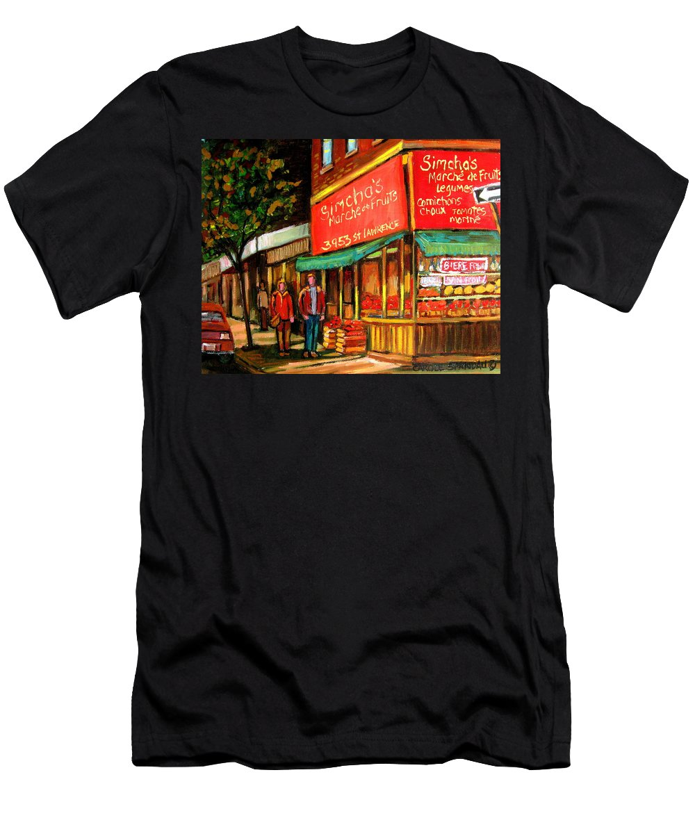Simchas Fruit Store Men's T-Shirt (Athletic Fit) featuring the painting Simchas Fruit Store by Carole Spandau
