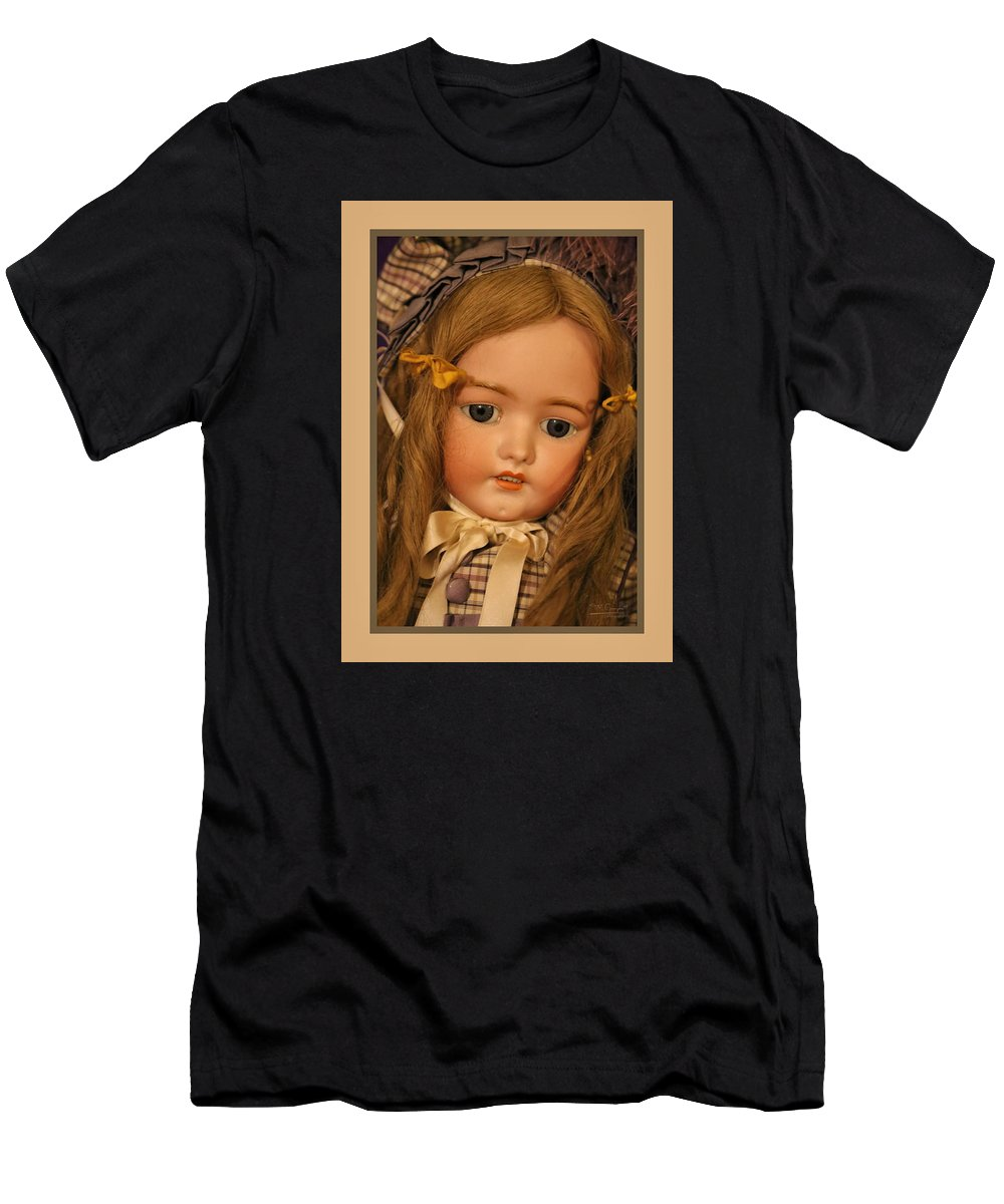 Theresa Campbell Men's T-Shirt (Athletic Fit) featuring the photograph Simon And Halbig Antique Doll by Theresa Campbell