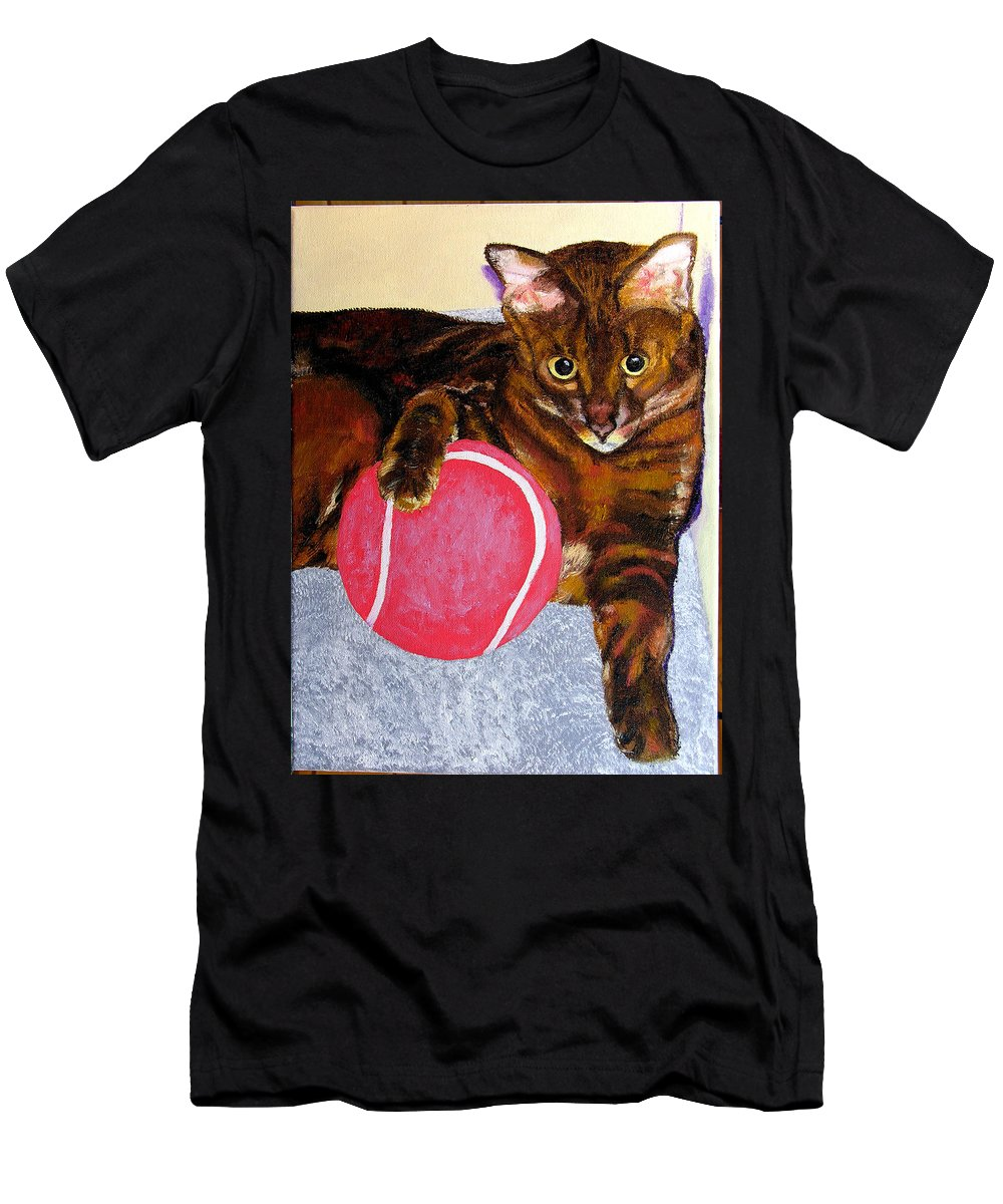 Cat Men's T-Shirt (Athletic Fit) featuring the painting Simon by Stan Hamilton