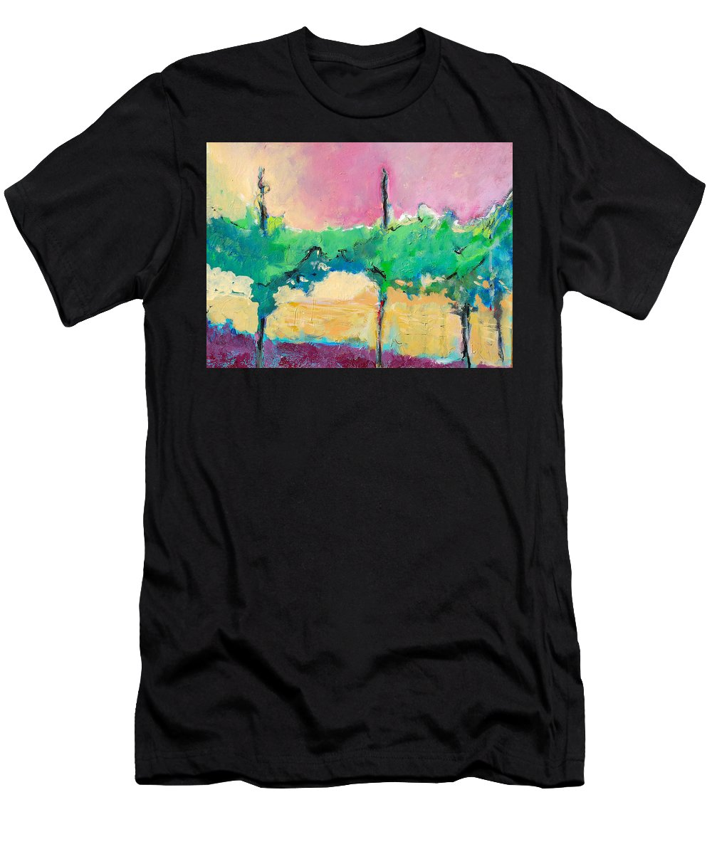 Vineyard Men's T-Shirt (Athletic Fit) featuring the painting Simpatico by Kurt Hausmann