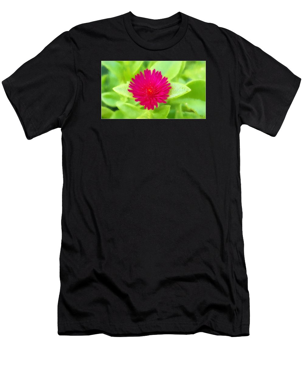 Floral Men's T-Shirt (Athletic Fit) featuring the digital art Simple Magenta In A Garden Of Green by Edier C
