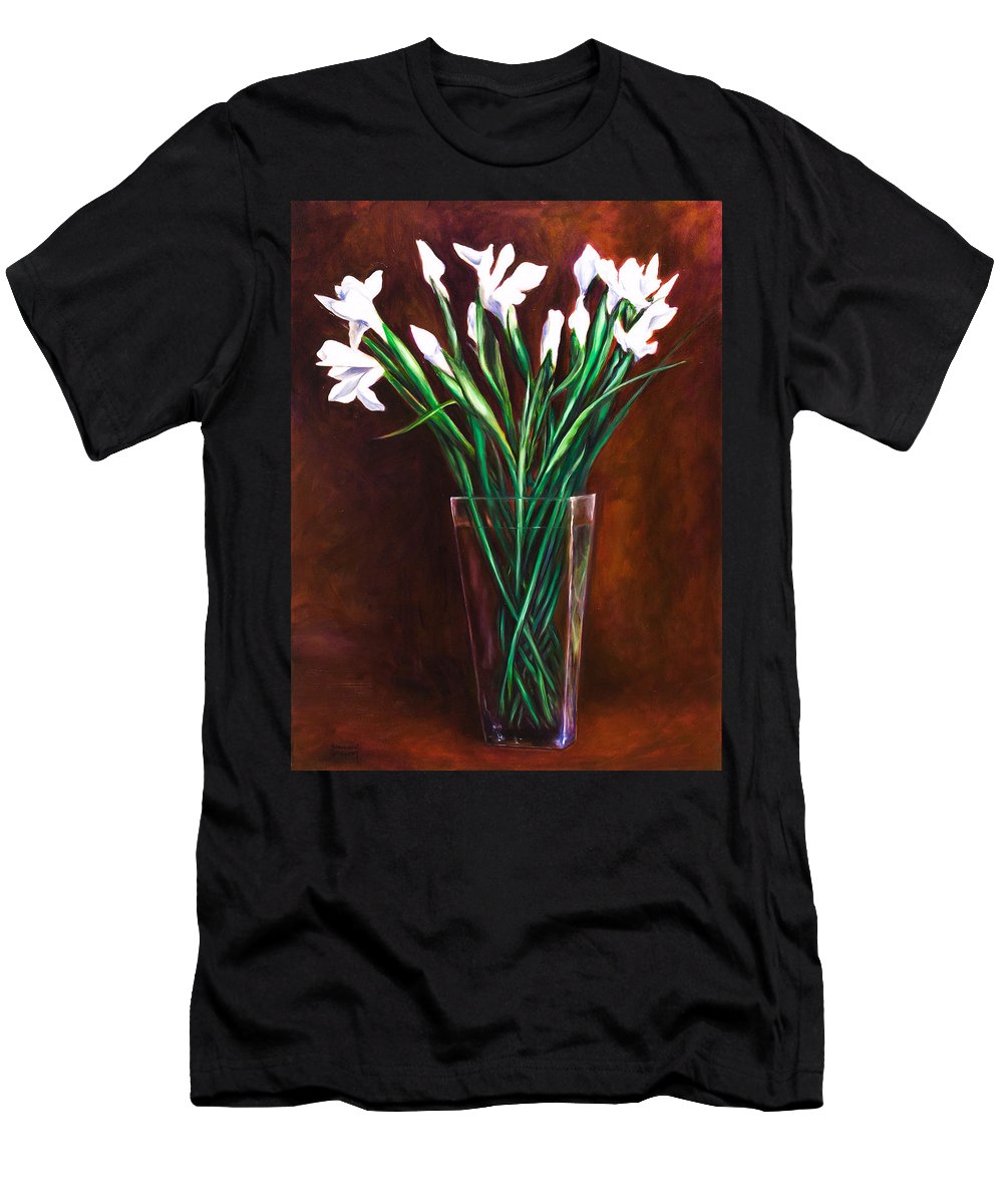 Iris T-Shirt featuring the painting Simply Iris by Shannon Grissom