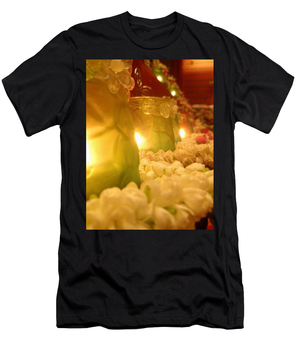 Singapore Temple Religion Buddhism Candle Lamp Light Chinese Chinatown Culture Tradition Flowers Men's T-Shirt (Athletic Fit) featuring the photograph Singapore Temple Offering Lamps 2 by Mark Sellers
