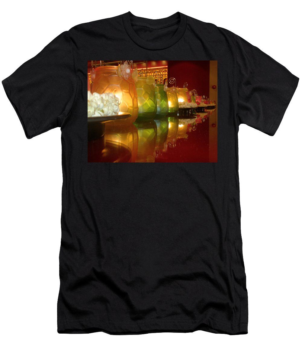 Singapore Men's T-Shirt (Athletic Fit) featuring the photograph Singapore Temple Offering Lamps by Mark Sellers