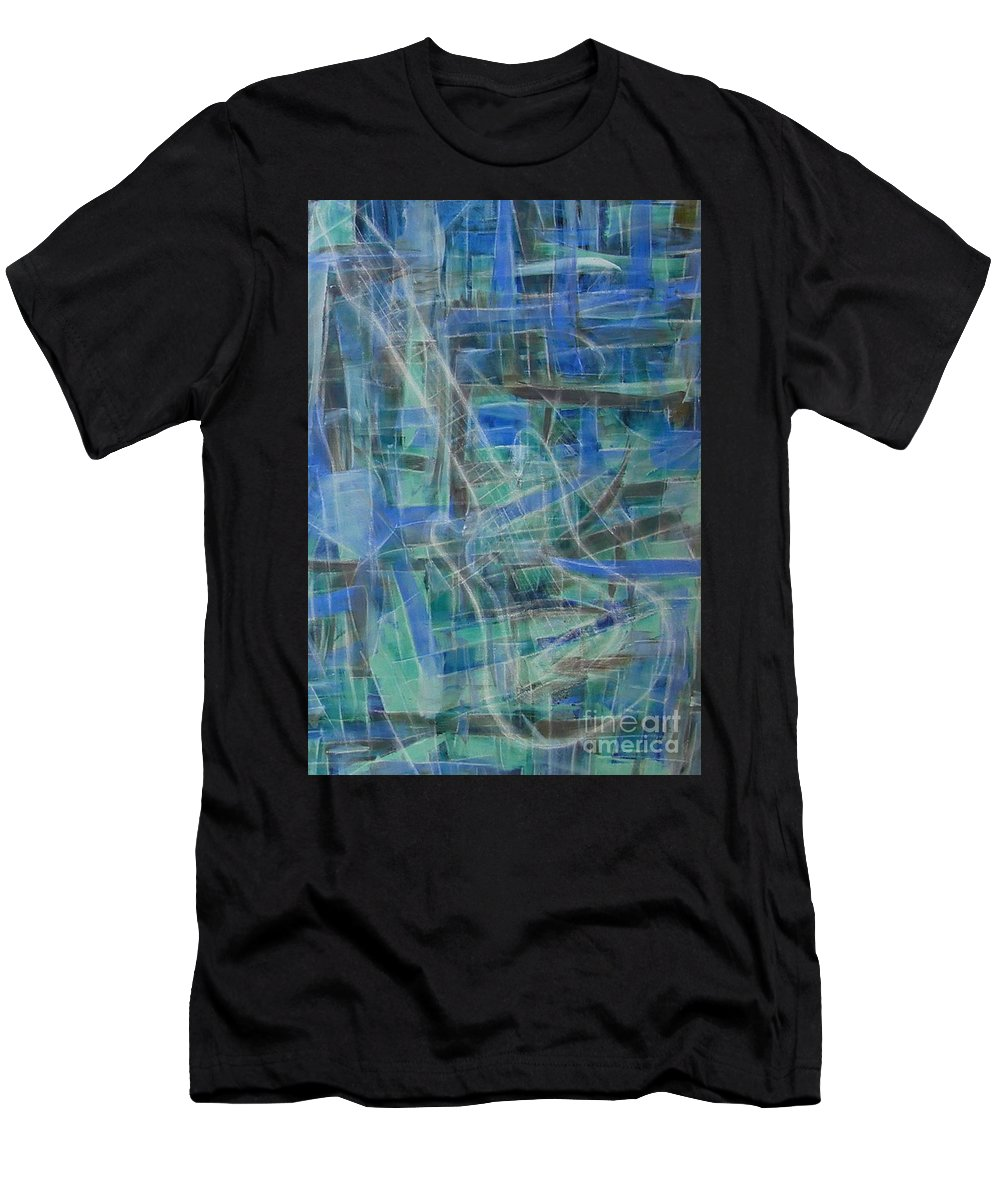 Guitar Men's T-Shirt (Athletic Fit) featuring the painting Singing The Blues by Dawn Hough Sebaugh