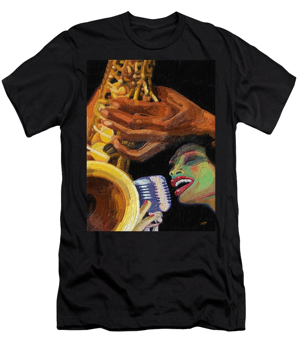 Music Men's T-Shirt (Athletic Fit) featuring the painting Singing The Blues by James Mingo