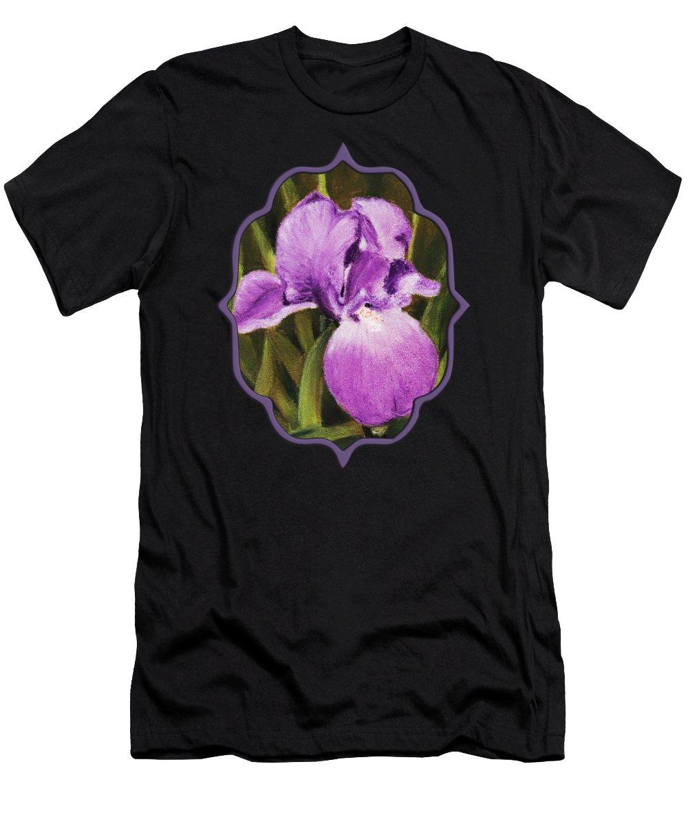 Plant Men's T-Shirt (Athletic Fit) featuring the painting Single Iris by Anastasiya Malakhova