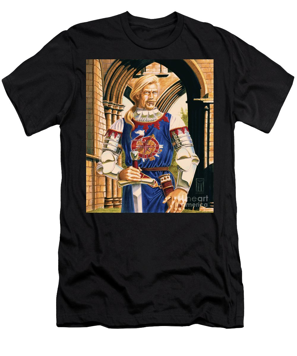 Swords T-Shirt featuring the painting Sir Dinadan by Melissa A Benson