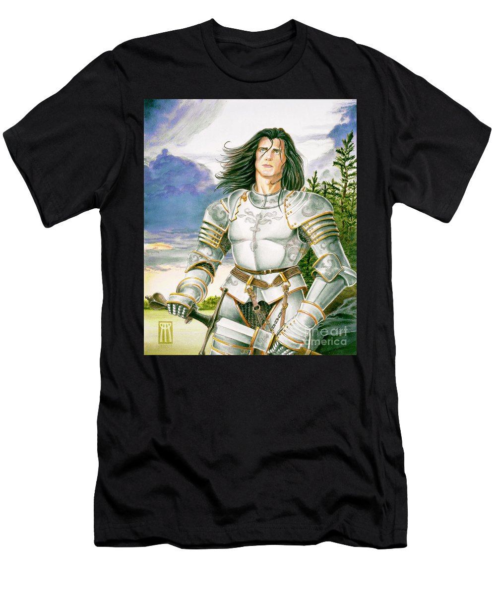 Swords Men's T-Shirt (Athletic Fit) featuring the painting Sir Lancelot by Melissa A Benson