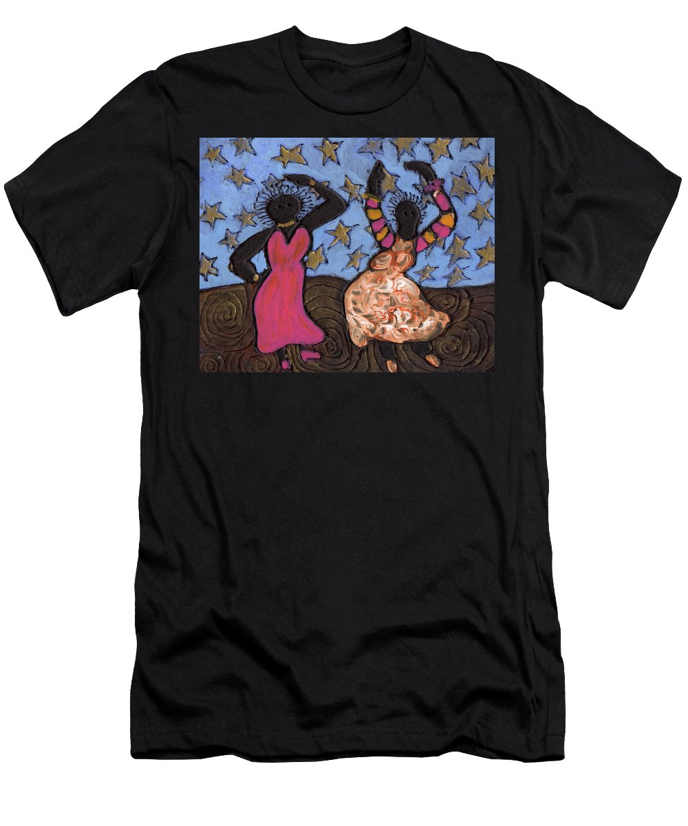 Folk Art Men's T-Shirt (Athletic Fit) featuring the painting Sisters Sarah Sue And Sally Mae Swinging The Night Away by Wayne Potrafka