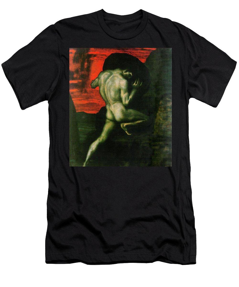 Franz Von Stuck Men's T-Shirt (Athletic Fit) featuring the painting Sisyphus by Franz von Stuck
