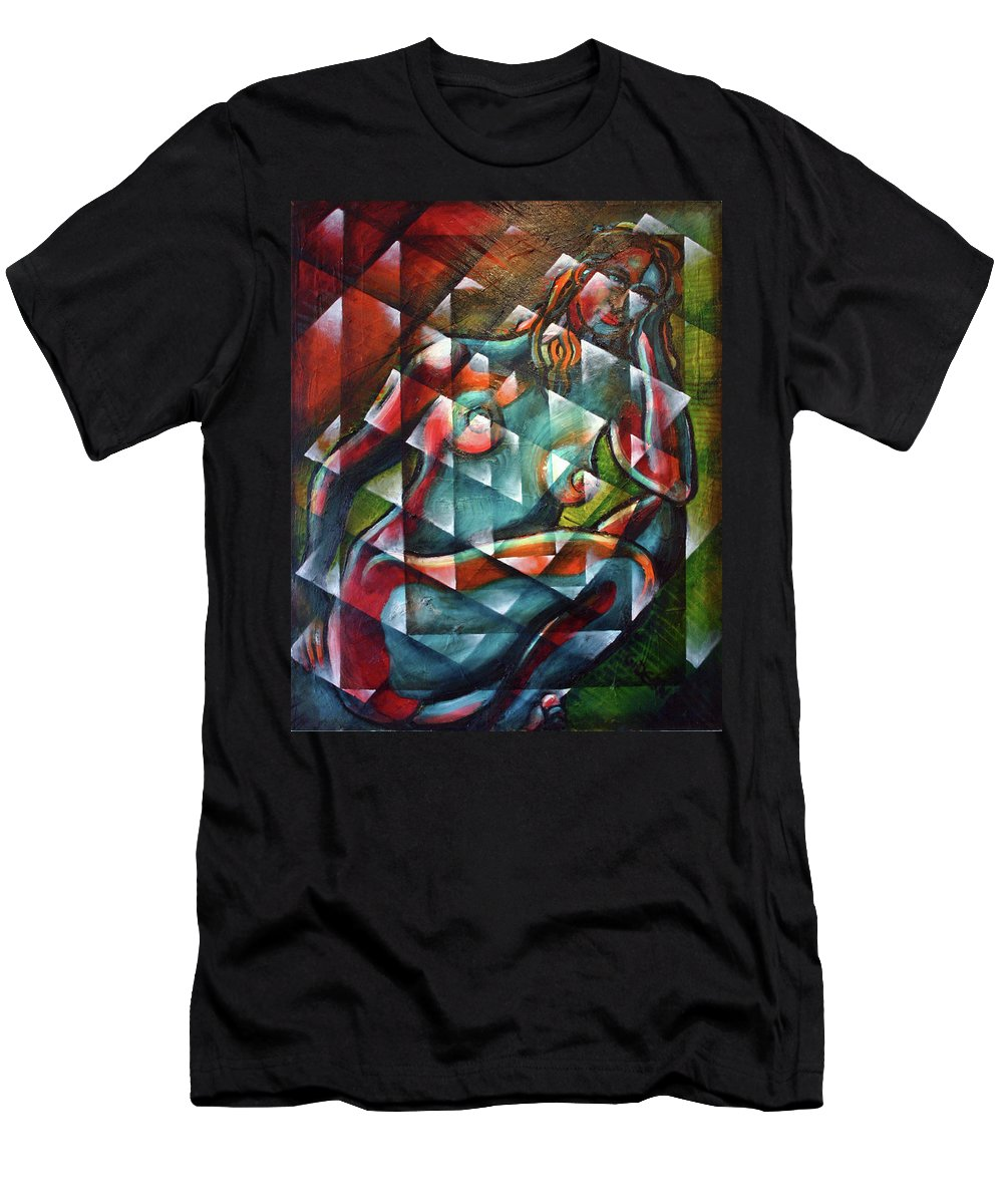Drawing Men's T-Shirt (Athletic Fit) featuring the painting Sitting Woman Fixed In Motion by Gideon Cohn