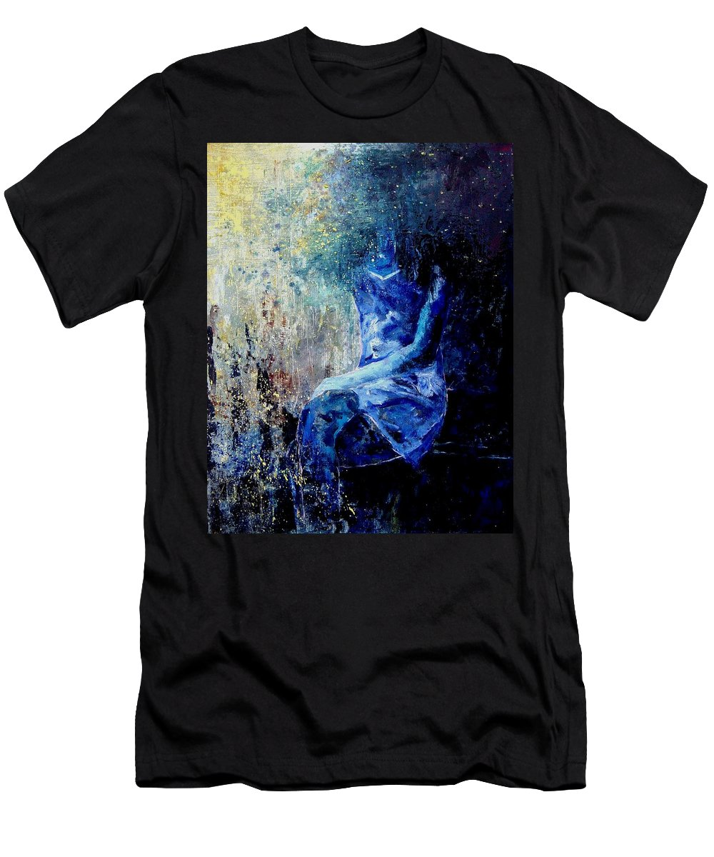 Woman Girl Fashion Men's T-Shirt (Athletic Fit) featuring the painting Sitting Young Girl by Pol Ledent