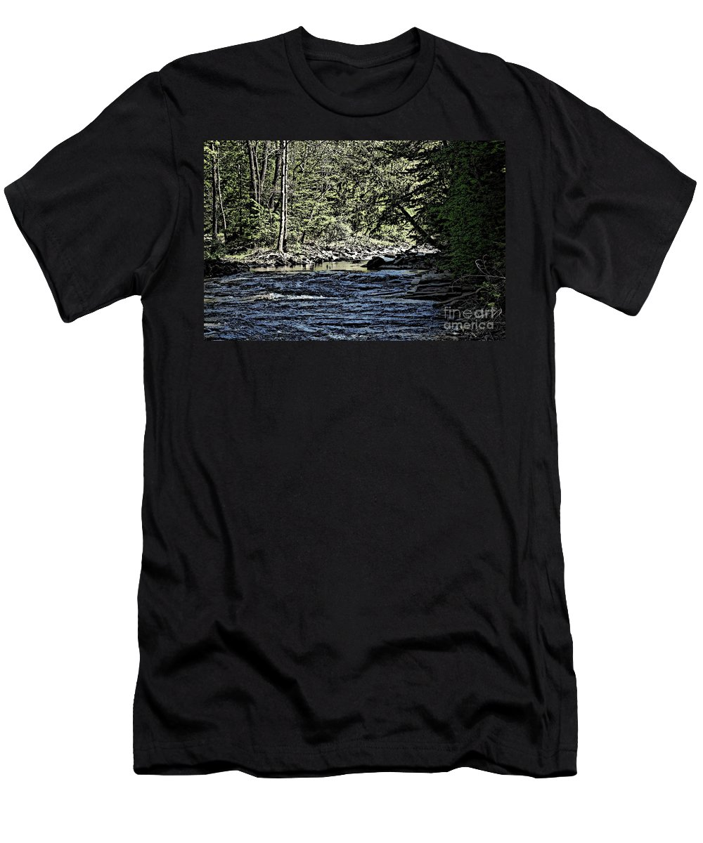 Landscape Men's T-Shirt (Athletic Fit) featuring the photograph Six Mile Creek Ithaca Ny by David Lane