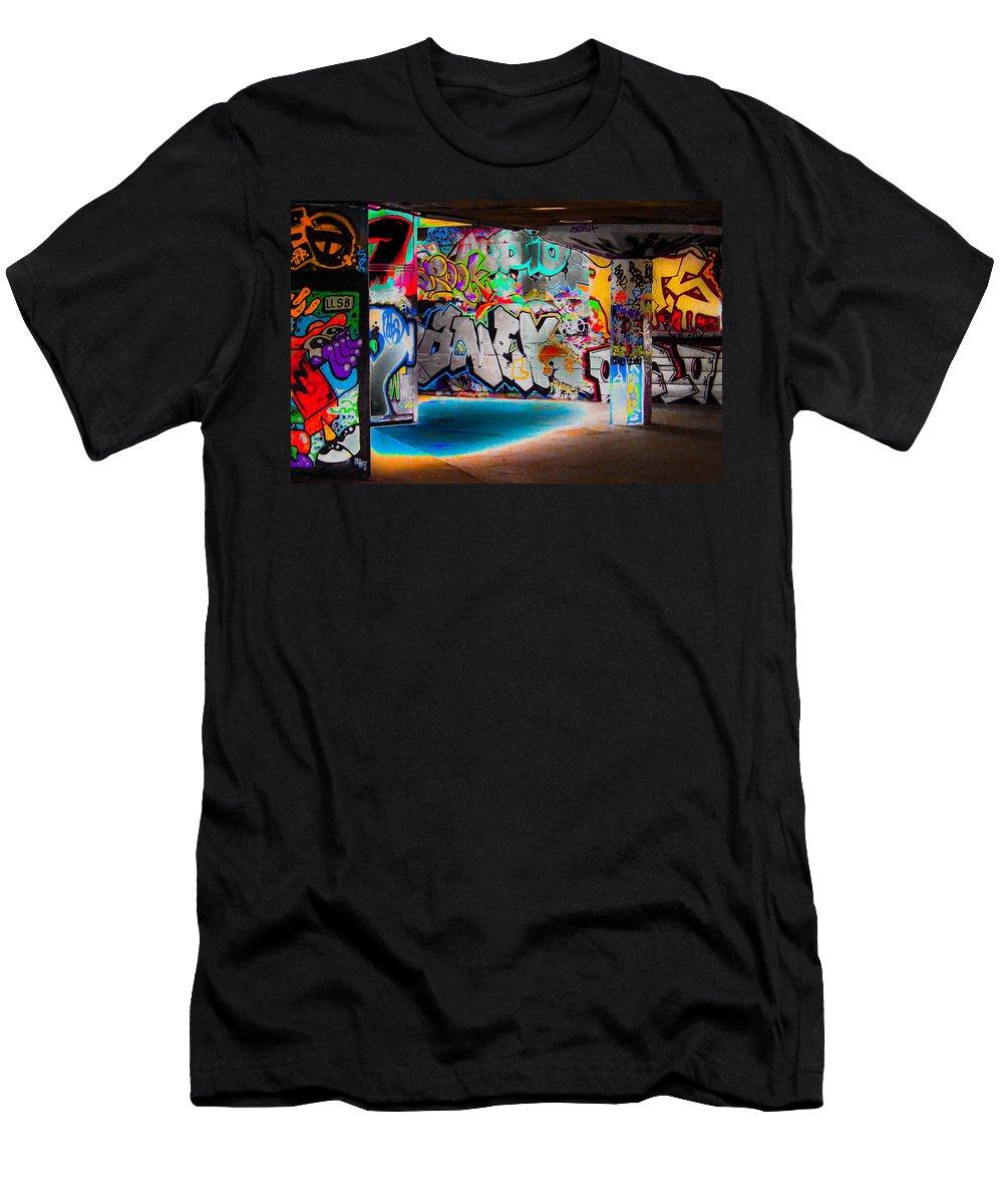Graffiti T-Shirt featuring the digital art Skatepark Graffiti Southbank 3 by Mo Barton