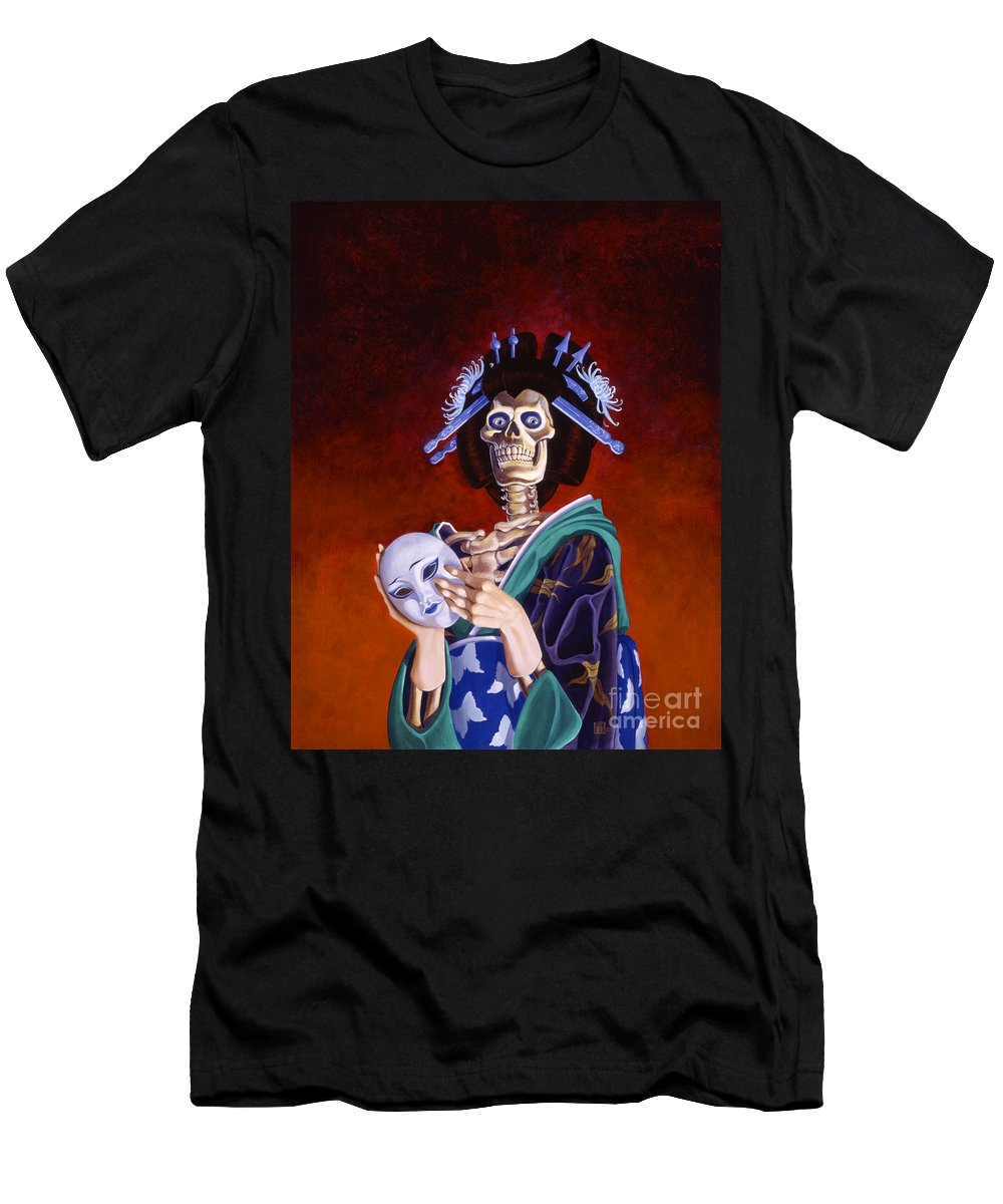 Skeleton Men's T-Shirt (Athletic Fit) featuring the painting Skeletal Geisha With Mask by Melissa A Benson