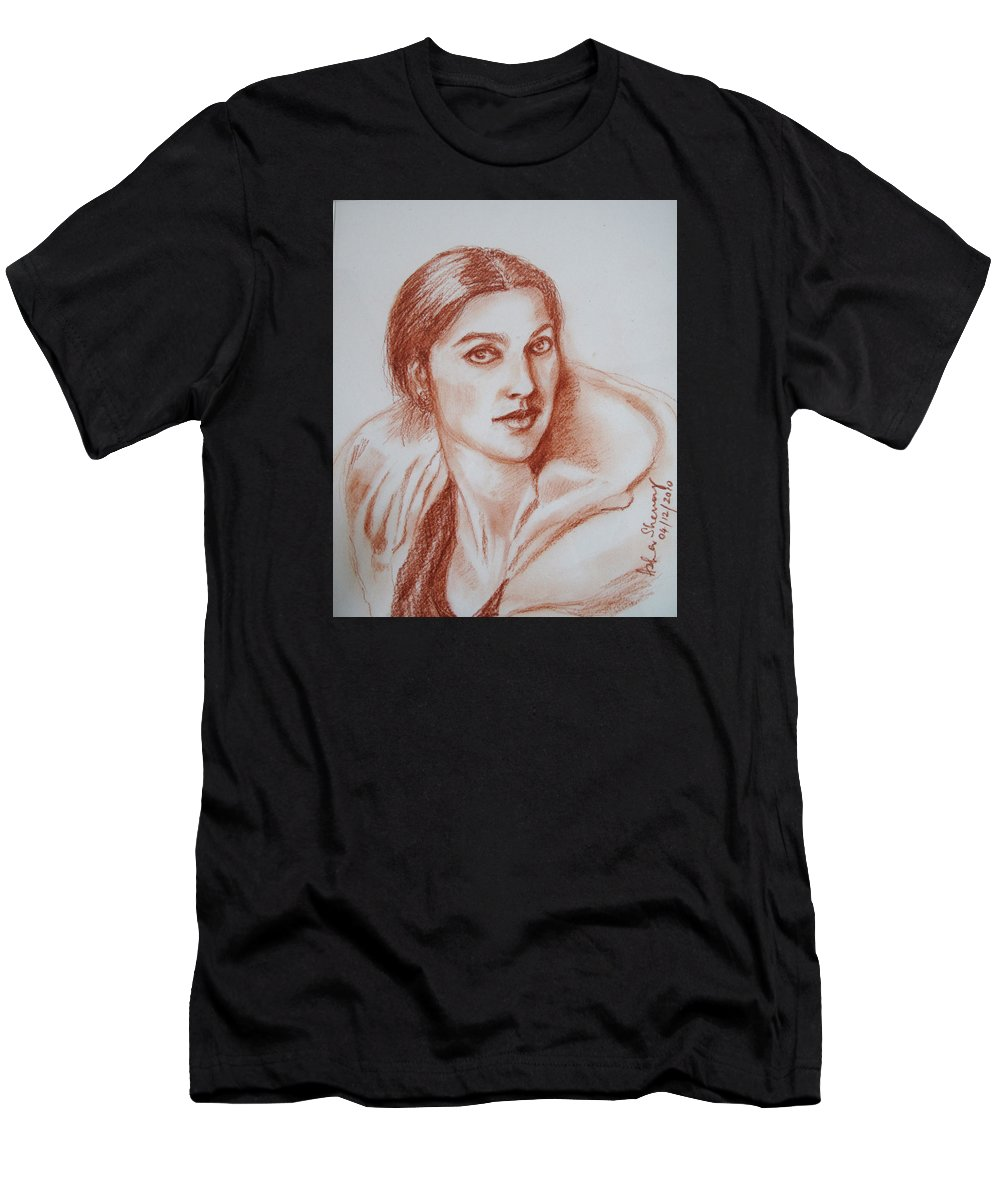 This Portrait Sketch Is Of Jhumpa Lahiri Men's T-Shirt (Athletic Fit) featuring the drawing Sketch In Conte Crayon by Asha Sudhaker Shenoy