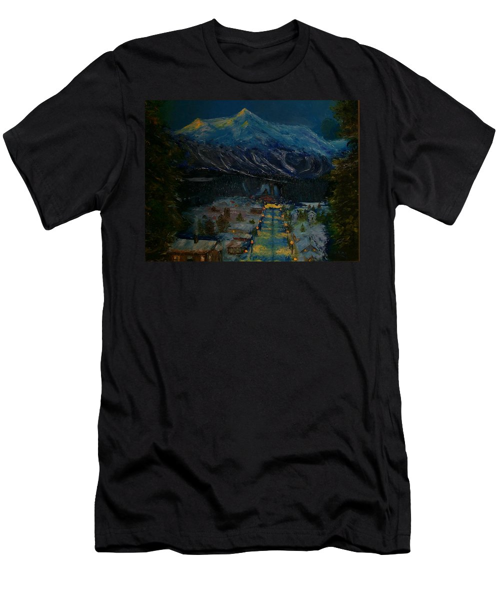 Winter Men's T-Shirt (Athletic Fit) featuring the painting Ski Resort by Stephen King