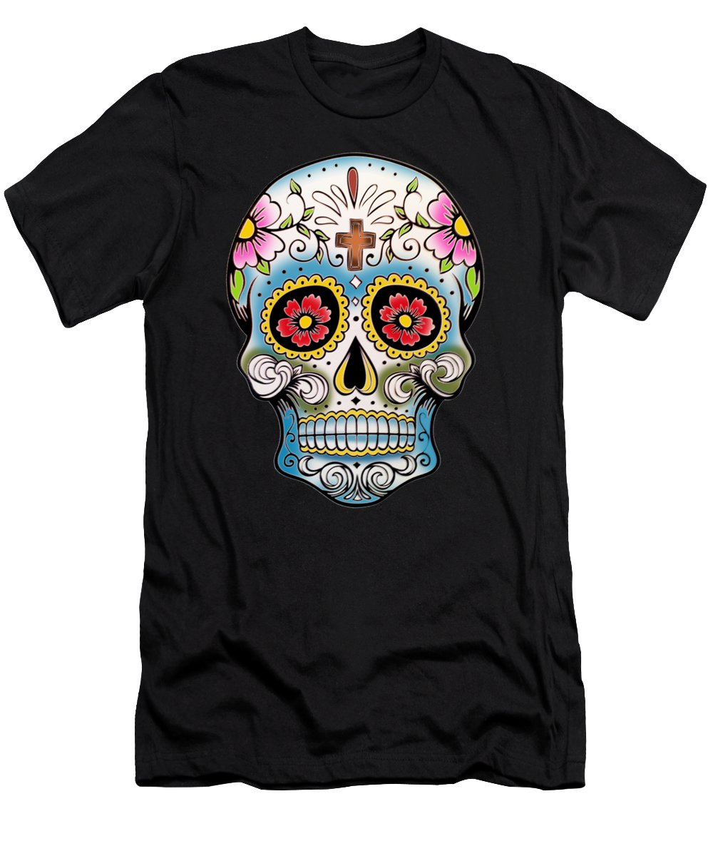Via De Los Muertos T-Shirt featuring the painting Skull 10 by Mark Ashkenazi