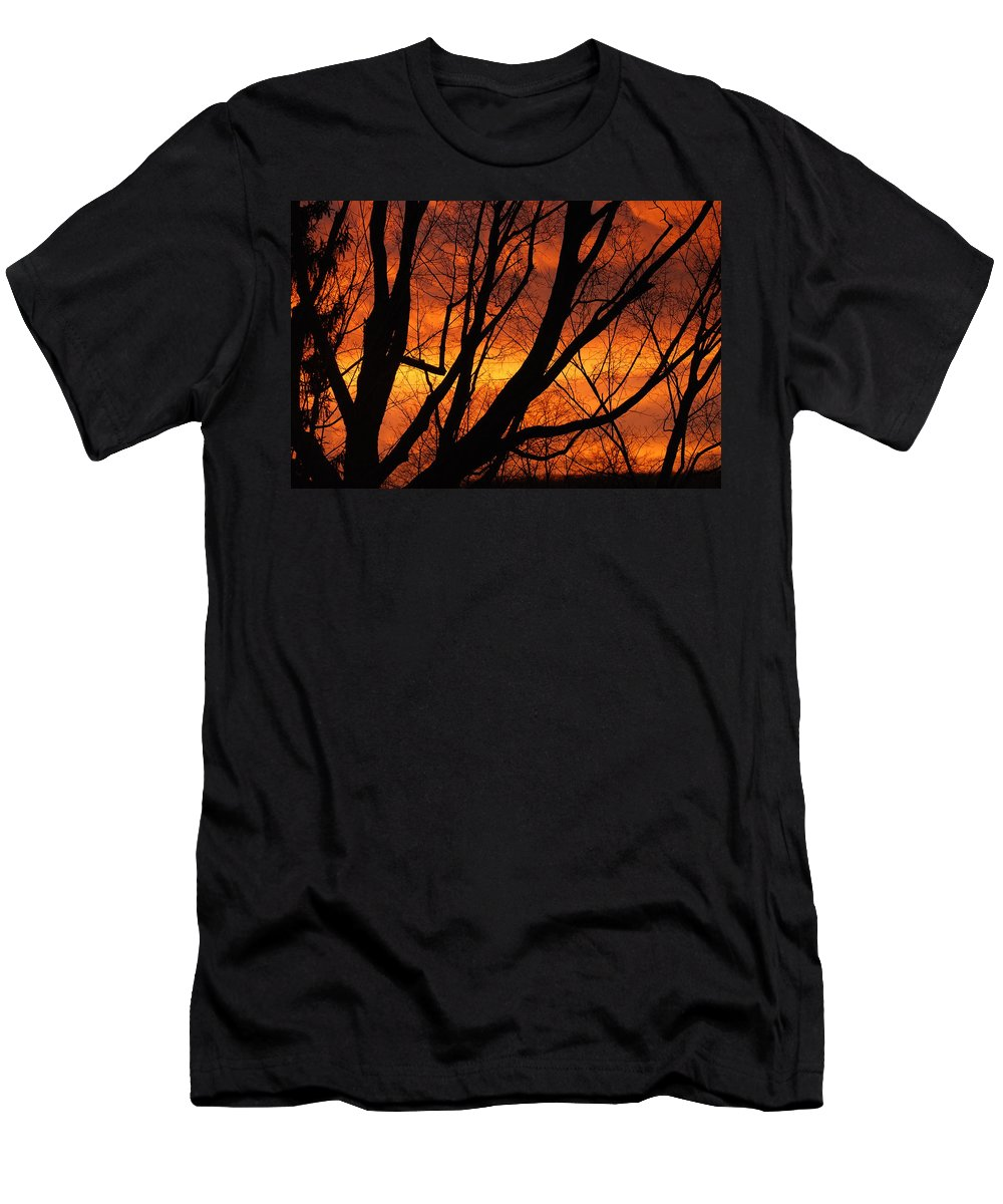Sky Men's T-Shirt (Athletic Fit) featuring the photograph Sky On Fire by Lori Tambakis