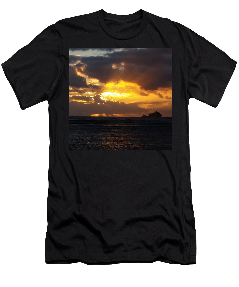 Ocean Men's T-Shirt (Athletic Fit) featuring the photograph Sky On Fire by Michael Maimone
