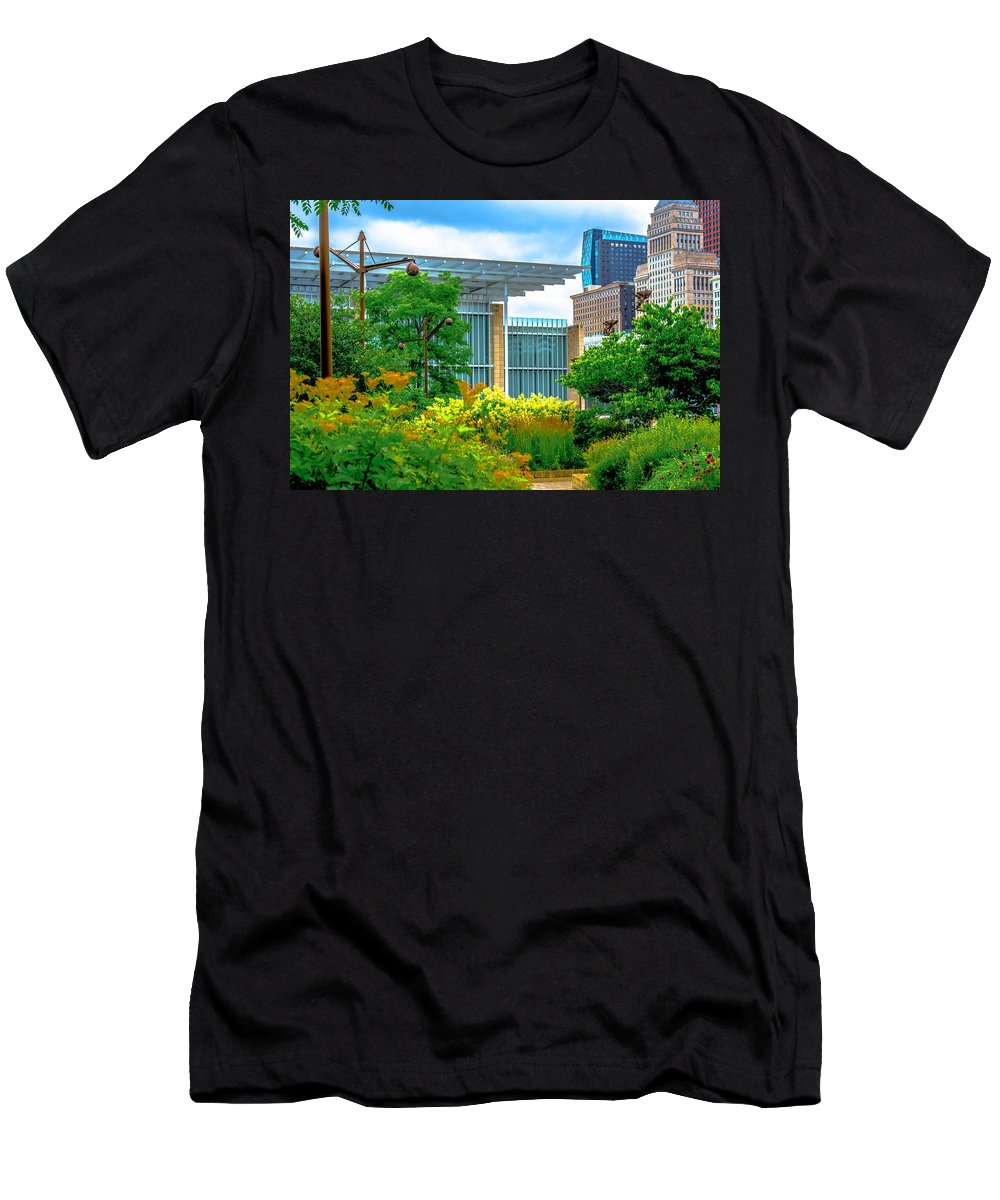 Men's T-Shirt (Athletic Fit) featuring the photograph Skyline From Lurie Garden Art Institute Dsc2679 by Raymond Kunst