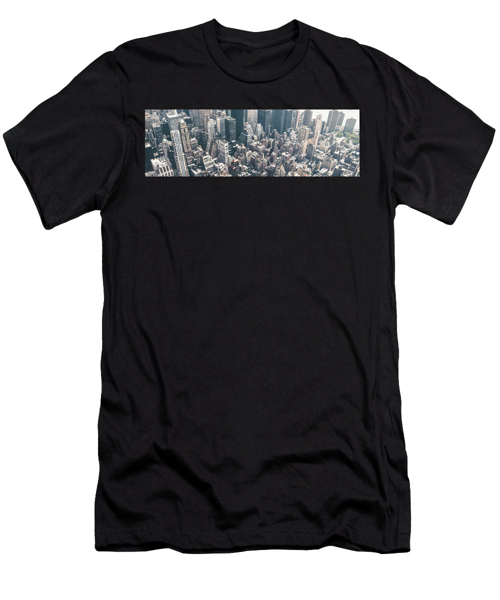 Skyscrapers View From Above Building 384x100 Men's T-Shirt (Athletic Fit) featuring the digital art Skyscrapers View From Above Building 83641 3840x1200 by Rose Lynn