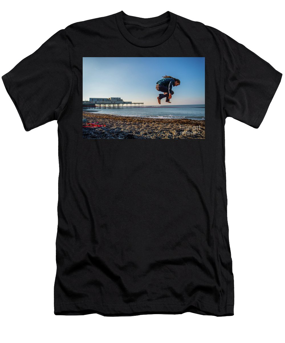 Aberystwyth Men's T-Shirt (Athletic Fit) featuring the photograph Slacklining On Aberystwyth Beach by Keith Morris