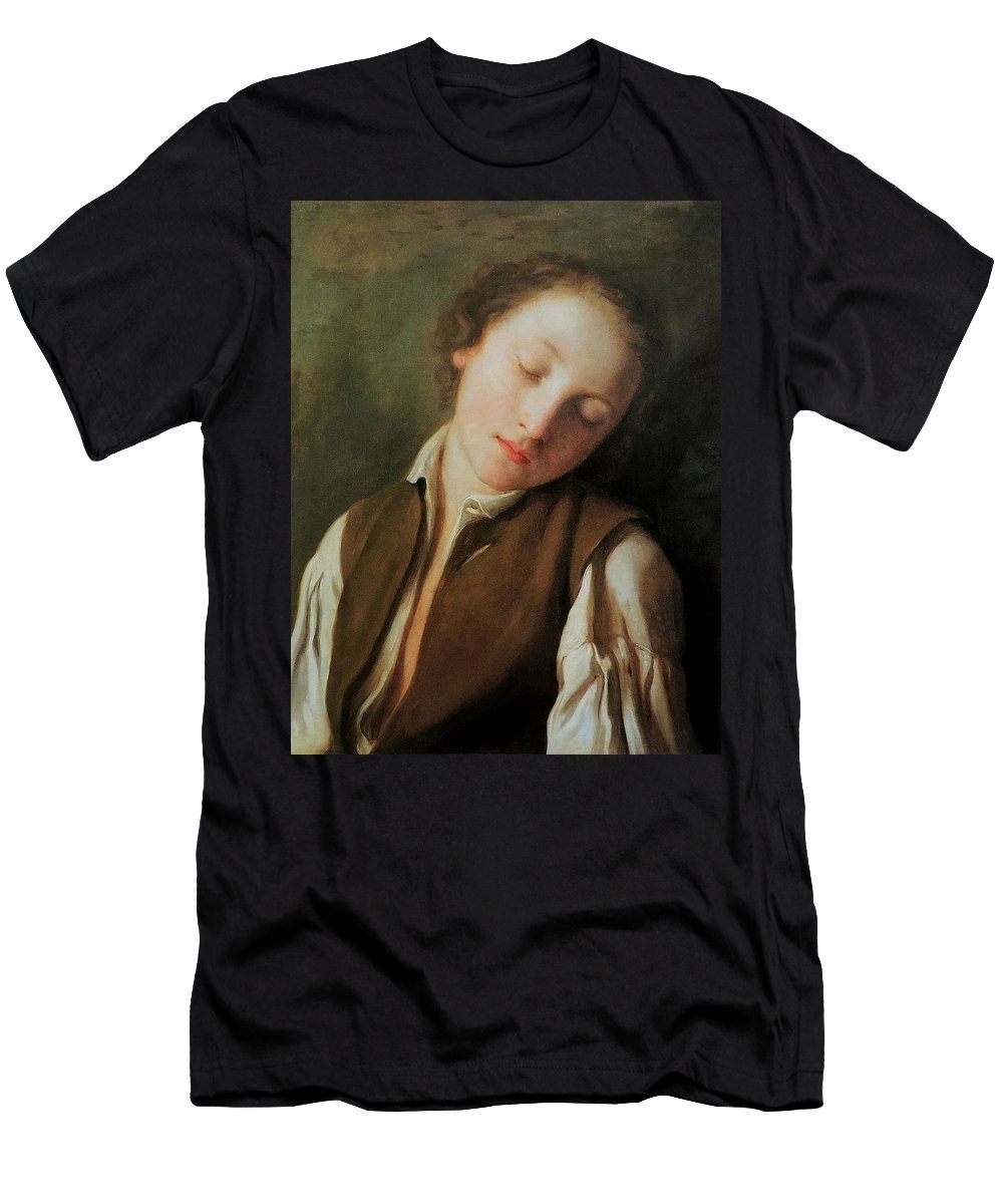 Pietro Antonio Rotari (italian. 1707-1762) Men's T-Shirt (Athletic Fit) featuring the painting Sleeping Boy by MotionAge Designs