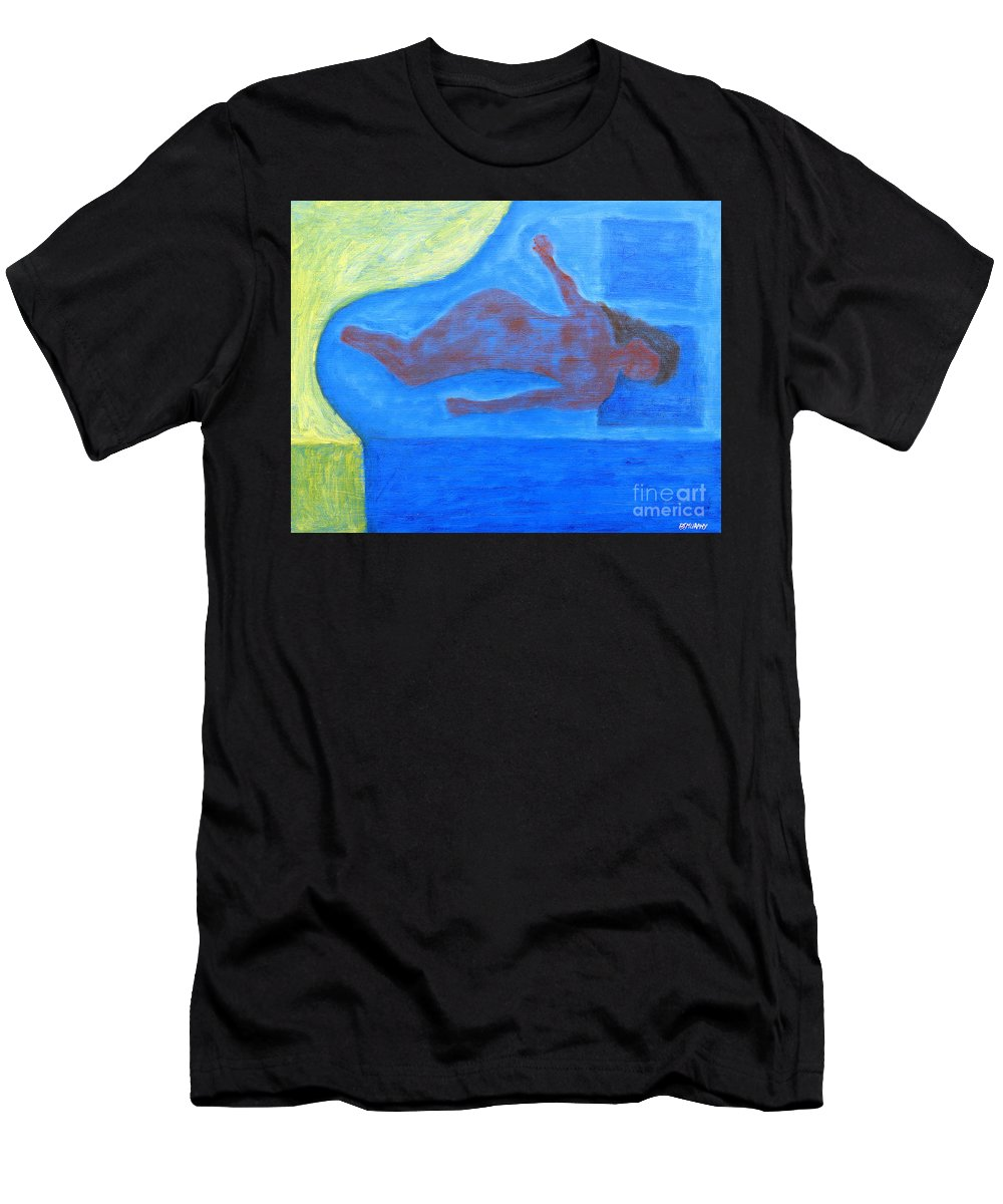 Sleeper Men's T-Shirt (Athletic Fit) featuring the painting Sleeping Nude by Patrick J Murphy
