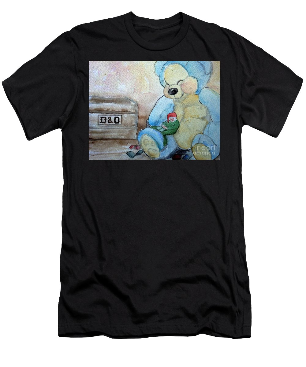 Gnome Men's T-Shirt (Athletic Fit) featuring the painting Sleepy Gnome by Marie-Louise Fritzen
