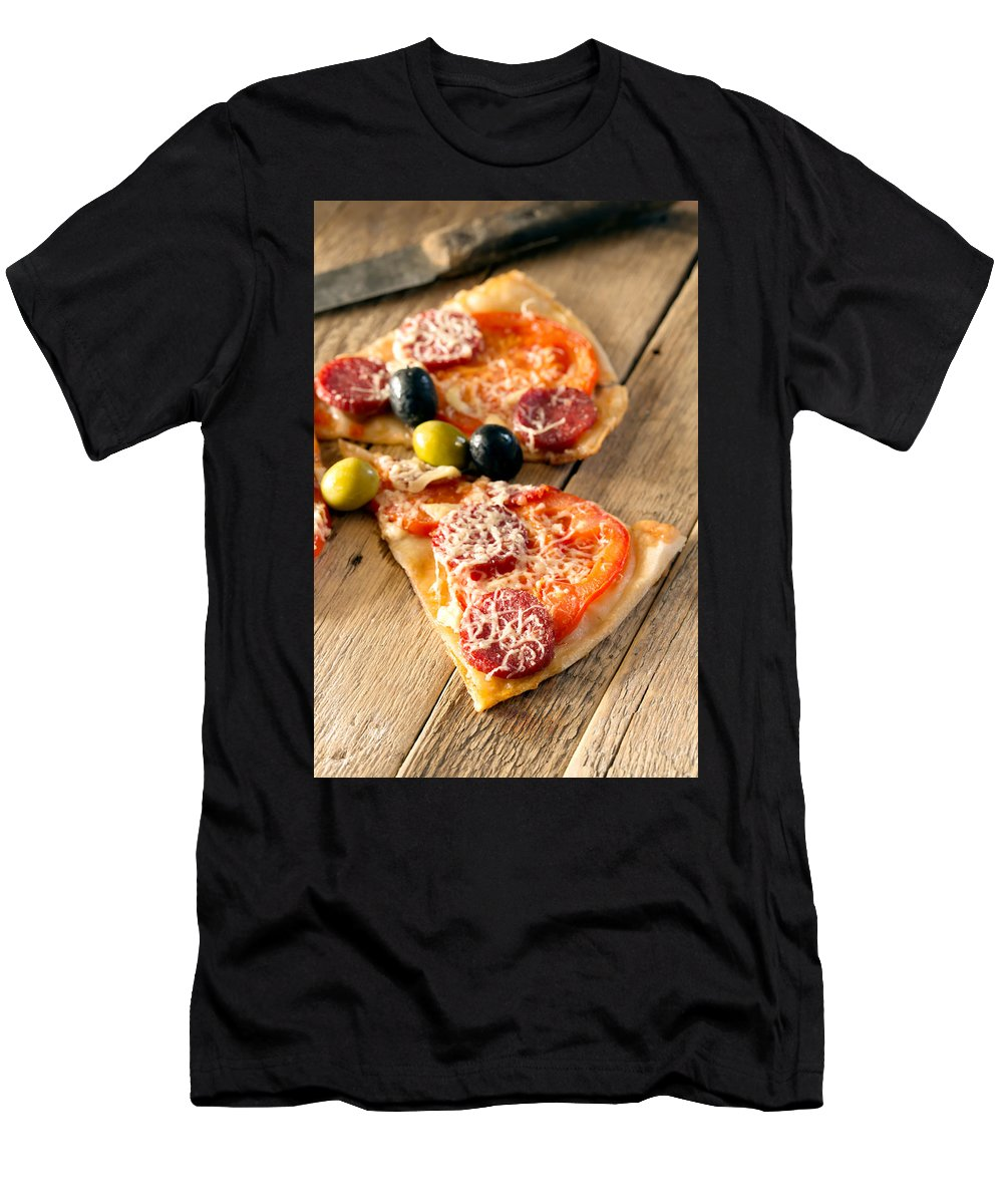 Vadim Goodwill Men's T-Shirt (Athletic Fit) featuring the photograph Slices Of Homemade Pizza With Salami by Vadim Goodwill