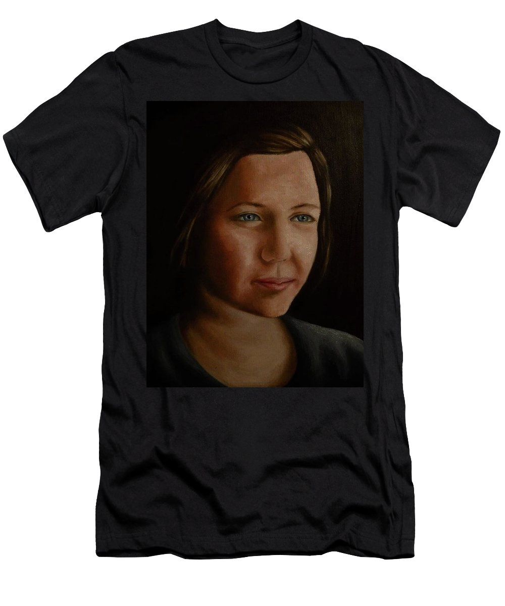 Portrait Men's T-Shirt (Athletic Fit) featuring the painting Slight Smile by C Van Hecke