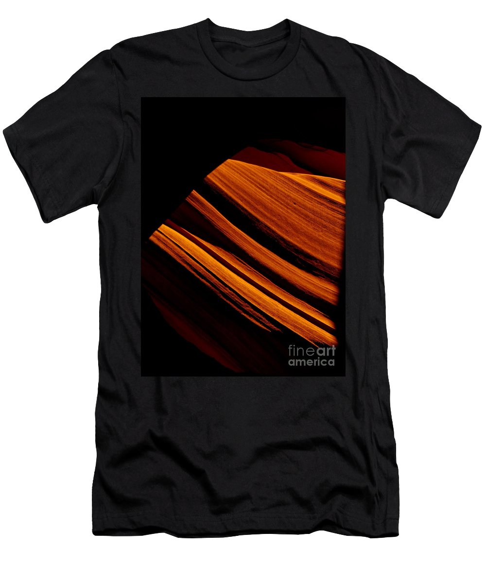 Slot Canyon Men's T-Shirt (Athletic Fit) featuring the photograph Slot Canyon Striations by Scott Sawyer