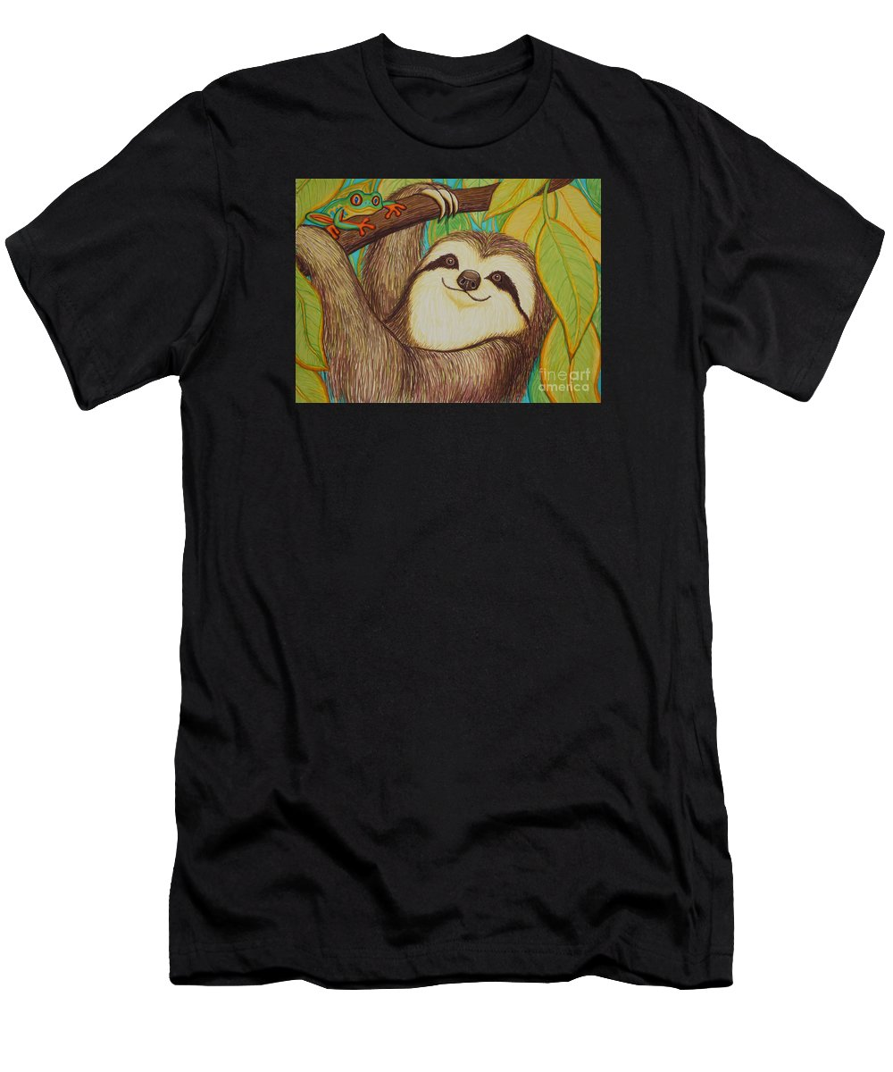 Sloth Men's T-Shirt (Athletic Fit) featuring the drawing Sloth And Frog by Nick Gustafson