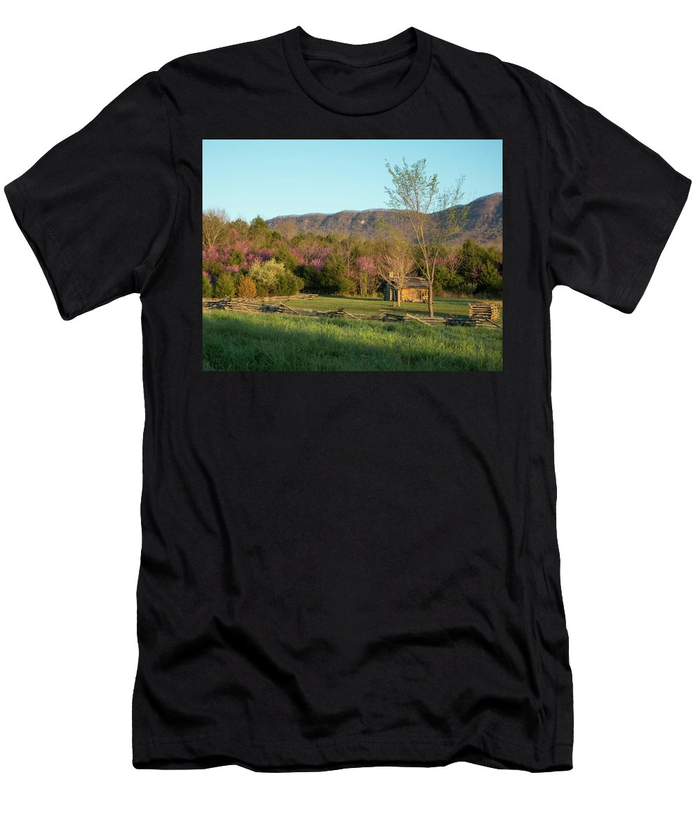 Historic Martin's Station Wilderness Road State Park Ewing Va Virginia Cabin White Rocks Men's T-Shirt (Athletic Fit) featuring the photograph Small Cabin At Historic Martin's Station by Katelyn Johnson