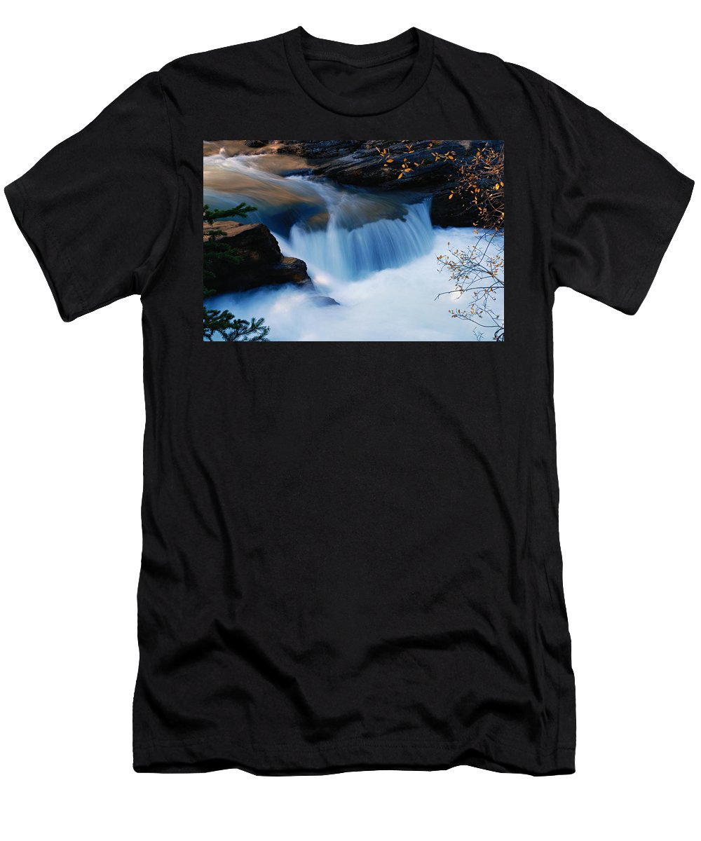 Maligne Canyon Men's T-Shirt (Athletic Fit) featuring the photograph Small Cascade In Maligne Canyon by Larry Ricker